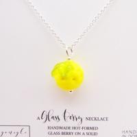 Glass Lemon Necklace- silver