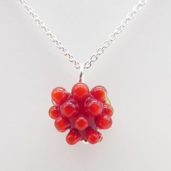 Glass Raspberry Necklace- silver