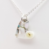 Pastel glass heart necklace on silver #2