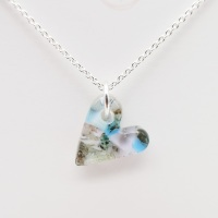 Pastel glass heart necklace on silver #4