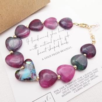 Pink Jade Heart Bracelet