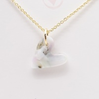 Pastel glass heart on filled gold #3