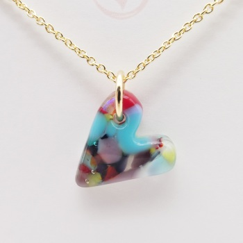 Multicoloured  glass heart on filled gold #1
