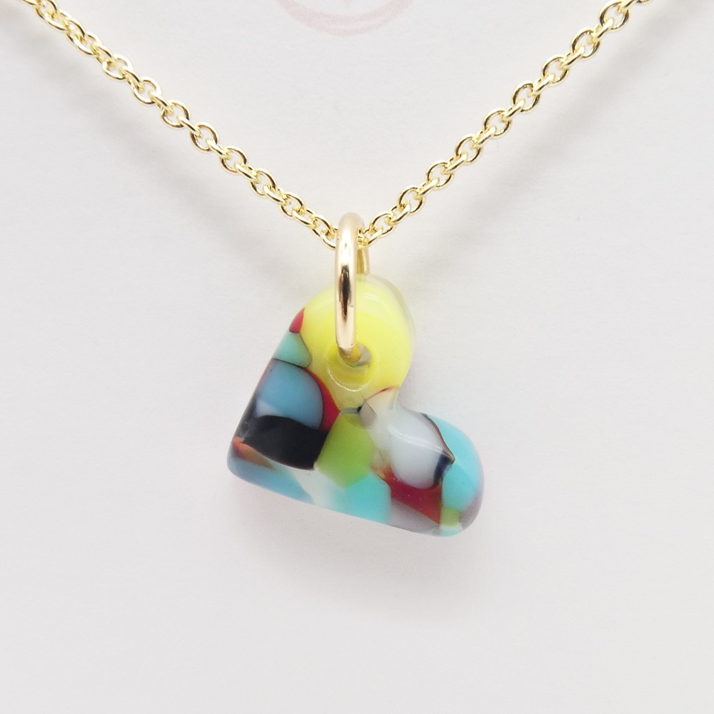 Multicoloured  glass heart on filled gold #4