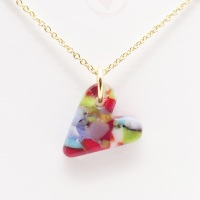 Multicoloured  glass heart on filled gold #5