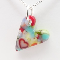 Miliforie glass heart on silver #1