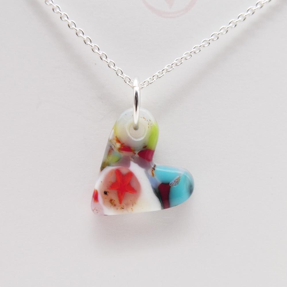Miliforie glass heart on silver #5