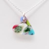 Miliforie glass heart on silver #6
