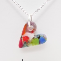 Miliforie glass heart on silver #7