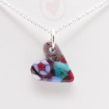 Miliforie glass heart on silver #8