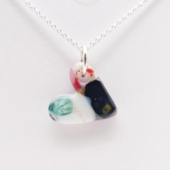 Miliforie glass heart on silver #10