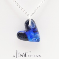 Blue glass heart on silver #1