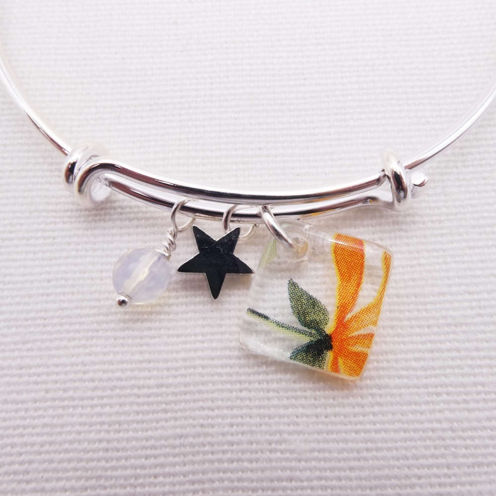 Clear Watercolour Floral Glass Tile  On a Silver Plated Bangle #2