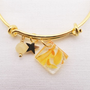Clear yellow flower Glass Tile  On a 14K Gold Plated Bangle #2