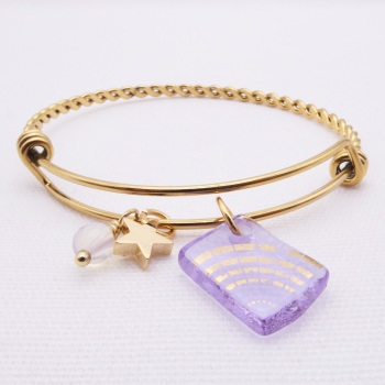 Faded Lilac sun Glass Tile On a Gold Plated Twisted Bangle