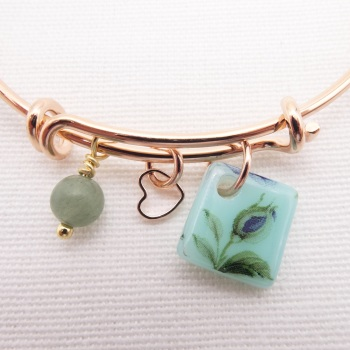 Mint green foliage Glass Tile  On a Rose Gold Plated Bangle