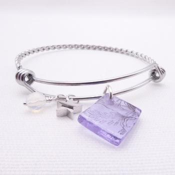 Lilac floral Glass Tile On a Silver Plated Twisted Bangle