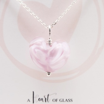 Pink Glass Heart Necklace