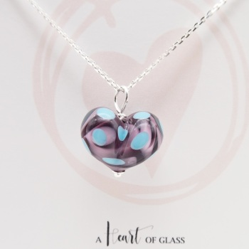 Purple and Turquoise Glass Heart Necklace