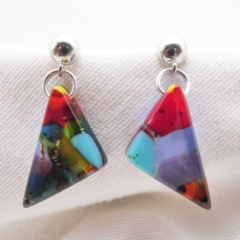 Multicoloured geo drop earrings on sterling silver
