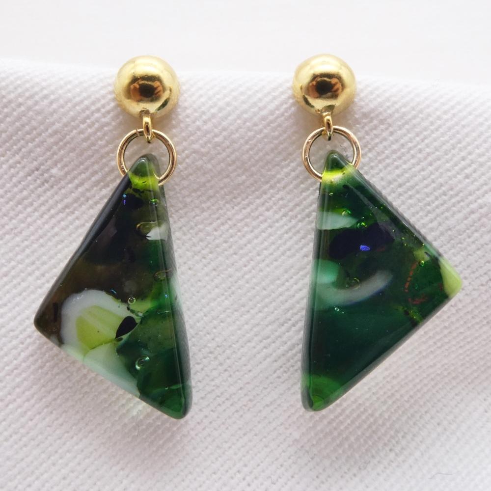Blue geo drop earrings on filled gold