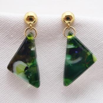 Green geo drop earrings on filled gold