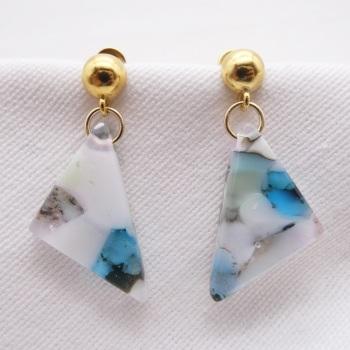 Pastel geo drop earrings on filled gold