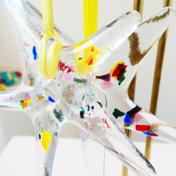 yellow and Clear Glass Star Decoration