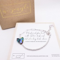 Handcarved glass heart on Silver Long link bracelet #1