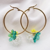 Large Glass Cluster Creole hoop earrings