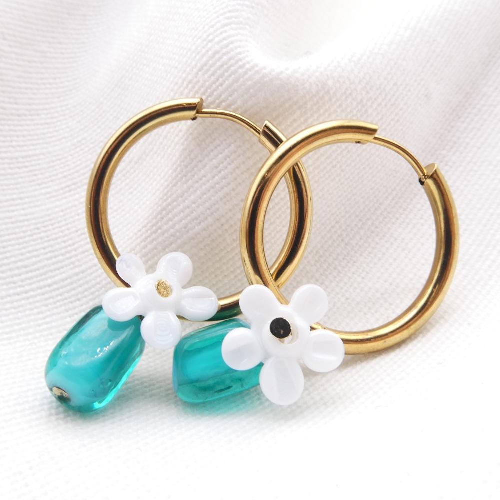 Little Turquoise cuties- Big Creole Glass hoop earrings