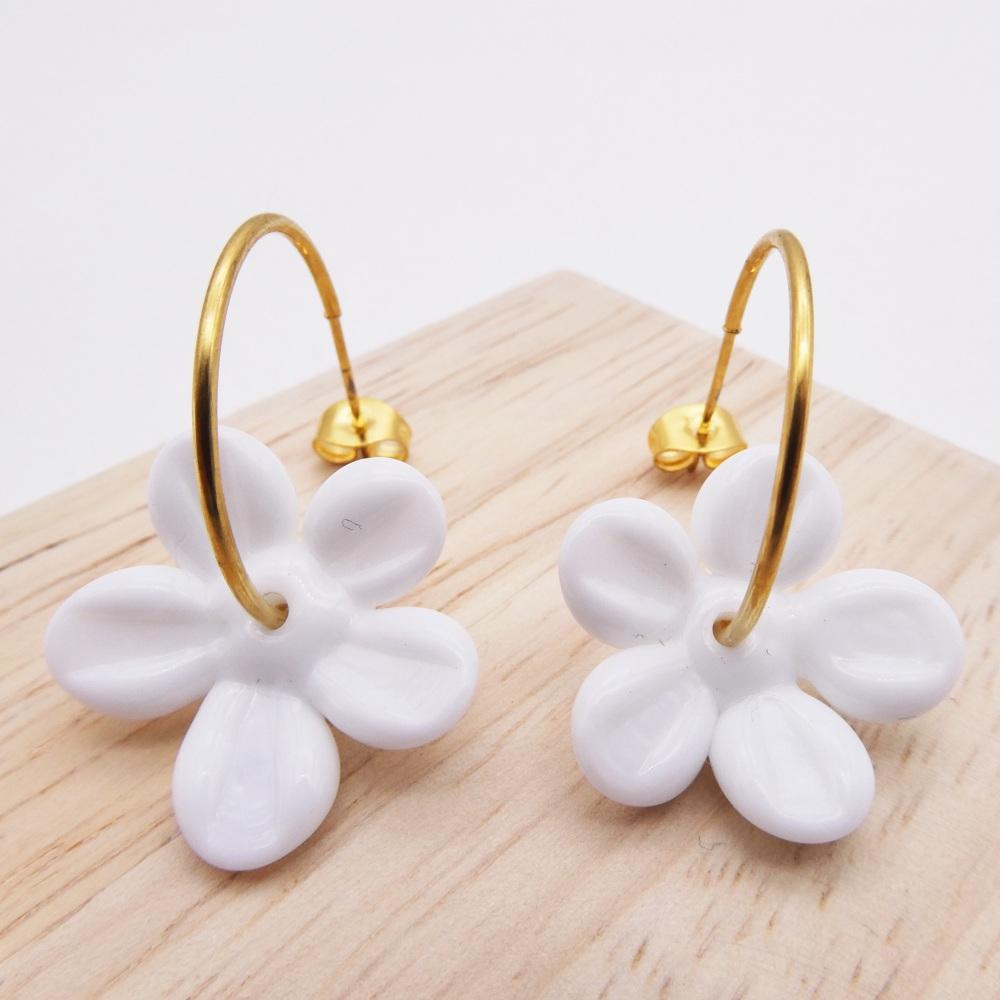 Big  white glass Flower hoop earrings