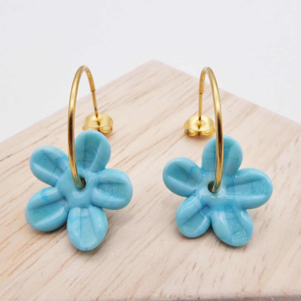 Big  Turquoise glass Flower hoop earrings