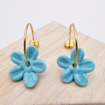 Big  Turquoise glass Flower hoop earrings