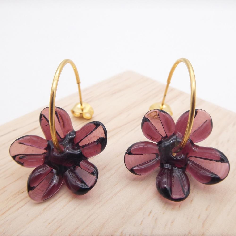Big  Plum glass Flower hoop earrings