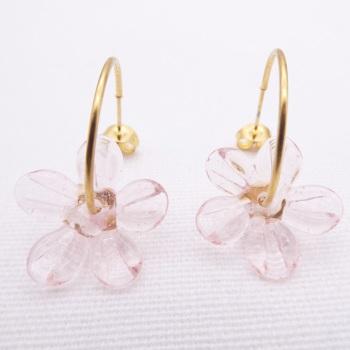 Big  Pink glass Flower hoop earrings