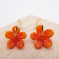 Medium orange glass Flower hoop earrings-gold