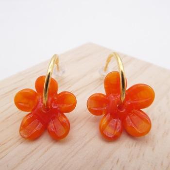 Medium orange glass Flower hoop earrings-gold