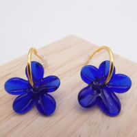 Medium striking blue glass Flower hoop earrings-gold
