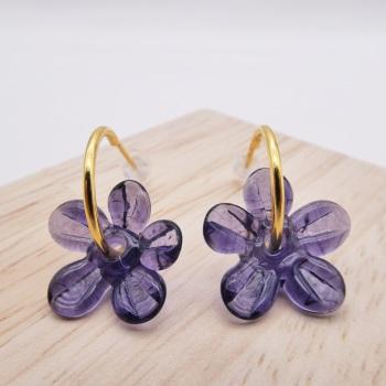 Medium purple glass Flower hoop earrings-gold