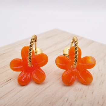 Small orange Flower twisted  hoop earrings-gold