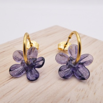 Small Purple Flower hoop earrings-gold
