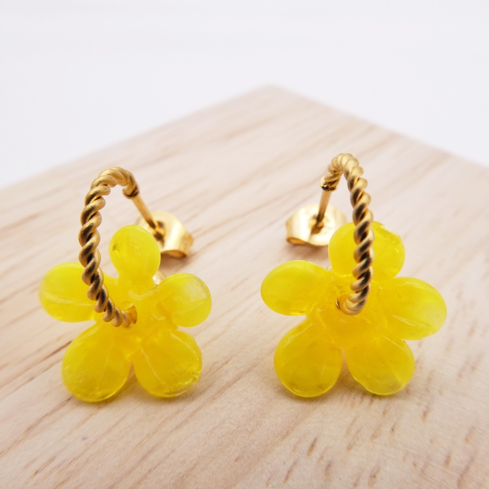 Small Yellow Flower twisted  hoop earrings-gold