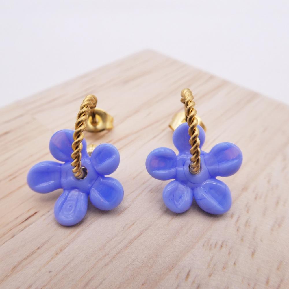 Small Blue Flower twisted  hoop earrings-gold