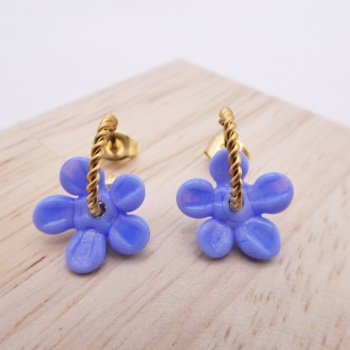 Small powder Blue Flower twisted  hoop earrings-gold