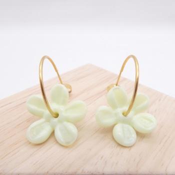 Big Tea green glass Flower hoop earrings