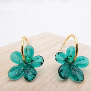 Medium sea green glass Flower hoop earrings-gold