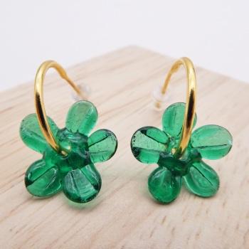 Medium Forest green glass Flower hoop earrings-gold