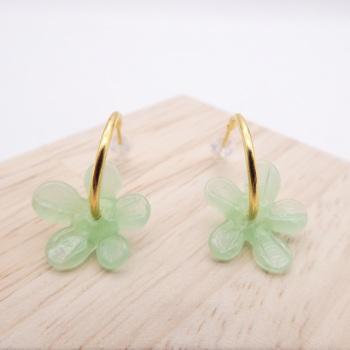 Medium Mint green glass Flower hoop earrings-gold