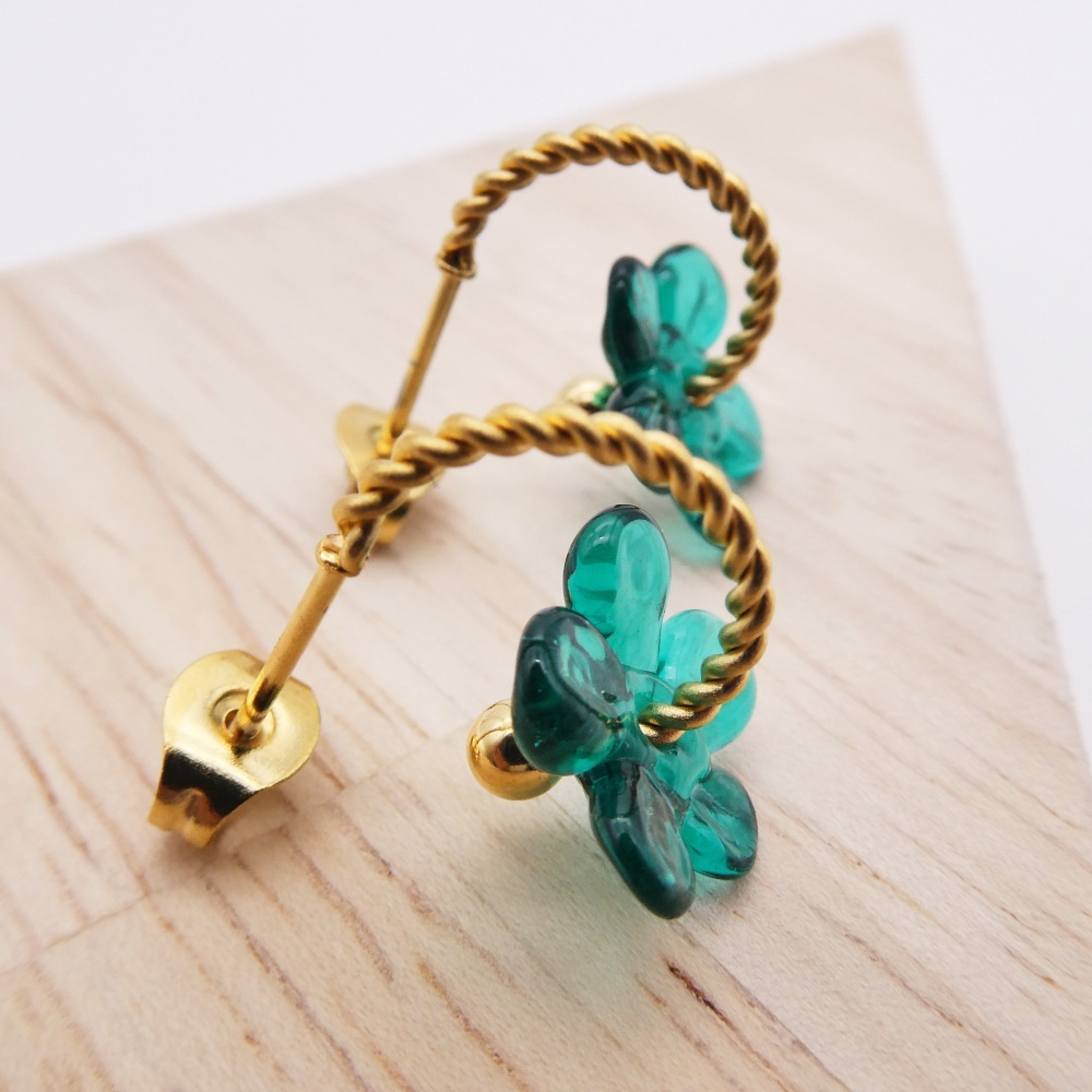 Small Sea Green Flower twisted  hoop earrings-gold